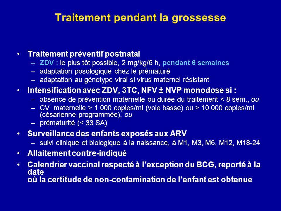 Traitement pendant la grossesse Traitement préventif postnatal –ZDV : le plus tôt possible, 2 mg/kg/6 h, pendant 6 semaines –adaptation posologique ch