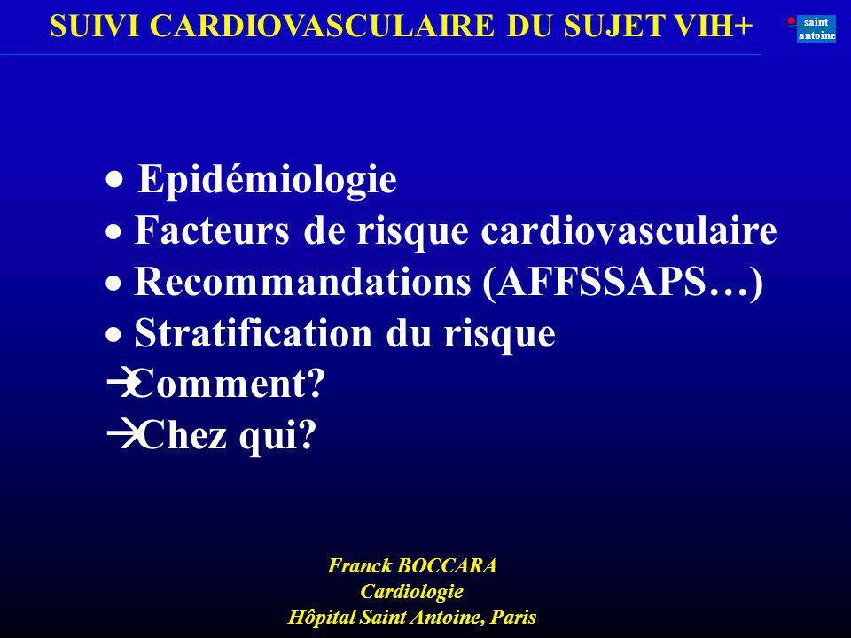 SUIVI CARDIOVASCULAIRE DU SUJET VIH+ saint antoine Normal StrieLipidiquePlaquefibreuse Athero- sclerose Rupture de Plaque/ fissure & thrombose IDM AVCIAIT Ischémiepériphérique Silence clinique Décès cardio vasculaire Se développe avec lâge Angor stable AOMI Ischémie Silencieuse Angor Instable Instable SCA Ce que nous avons appris Athérothrombose = un processus actif progressif responsable dévénements aigus et chroniques