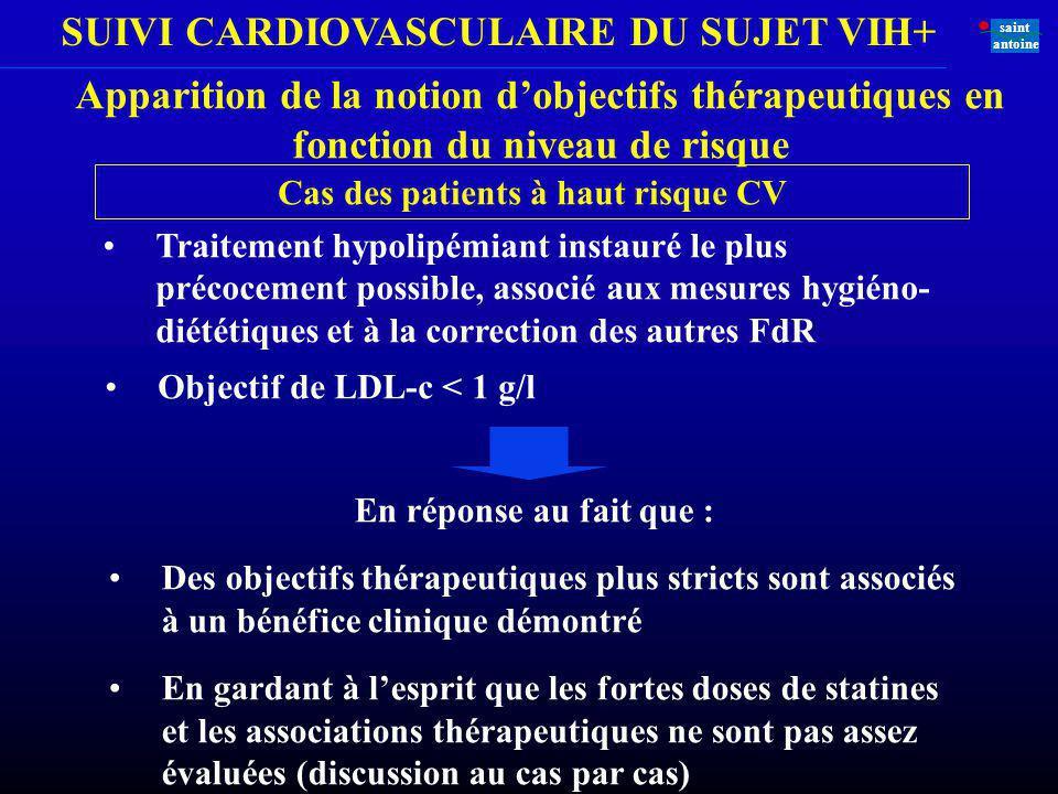 SUIVI CARDIOVASCULAIRE DU SUJET VIH+ saint antoine En réponse au fait que : Des objectifs thérapeutiques plus stricts sont associés à un bénéfice clin