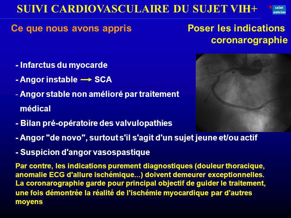 SUIVI CARDIOVASCULAIRE DU SUJET VIH+ saint antoine - Infarctus du myocarde - Angor instable SCA - Angor stable non amélioré par traitement médical - B