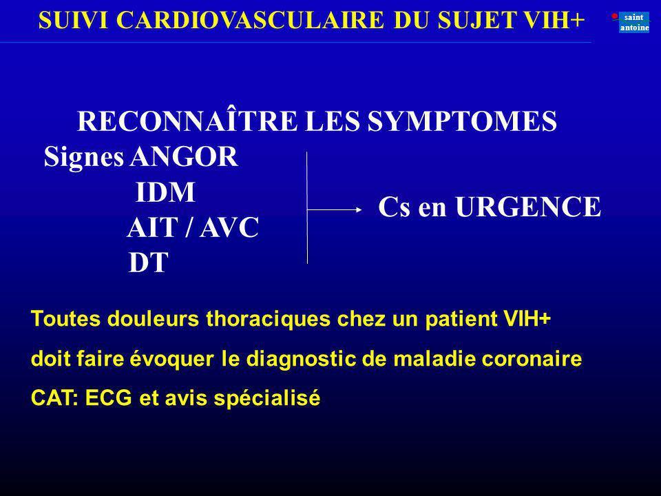 SUIVI CARDIOVASCULAIRE DU SUJET VIH+ saint antoine RECONNAÎTRE LES SYMPTOMES Signes ANGOR IDM AIT / AVC DT Cs en URGENCE Toutes douleurs thoraciques c