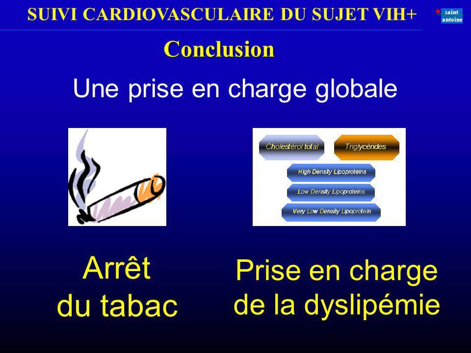 SUIVI CARDIOVASCULAIRE DU SUJET VIH+ saint antoine Une prise en charge globale Conclusion Arrêt du tabac Prise en charge de la dyslipémie