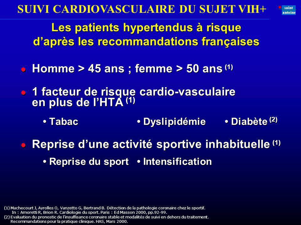 SUIVI CARDIOVASCULAIRE DU SUJET VIH+ saint antoine (1)Machecourt J, Ayrolles O, Vanzetto G, Bertrand B. Détection de la pathologie coronaire chez le s