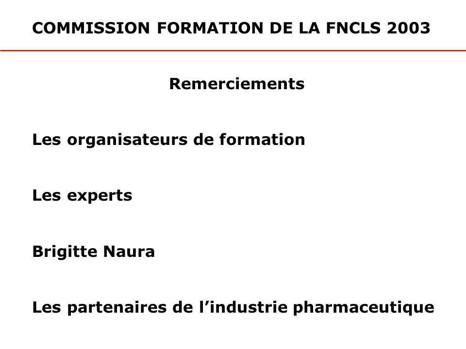 COMMISSION FORMATION DE LA FNCLS 2003 Remerciements Les organisateurs de formation Les experts Brigitte Naura Les partenaires de lindustrie pharmaceut