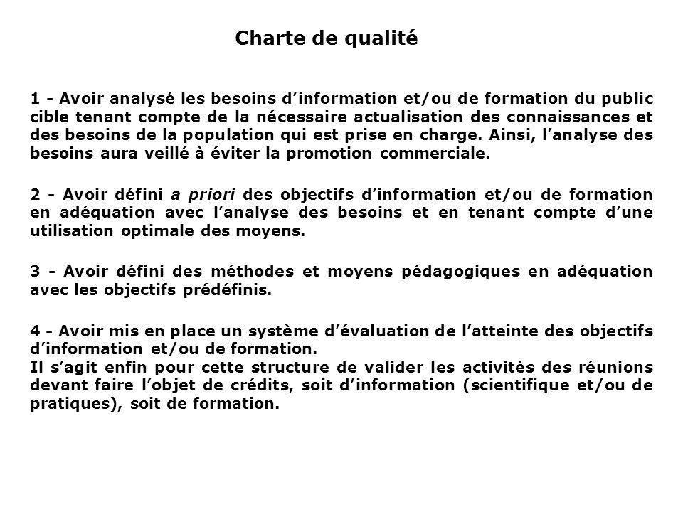 Charte de qualité 1 - Avoir analysé les besoins dinformation et/ou de formation du public cible tenant compte de la nécessaire actualisation des conna