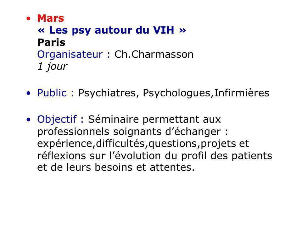 Mars « Les psy autour du VIH » Paris Organisateur : Ch.Charmasson 1 jour Public : Psychiatres, Psychologues,Infirmières Objectif : Séminaire permettan