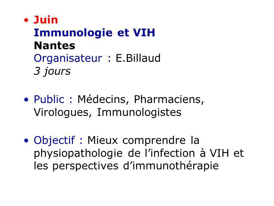 Juin Immunologie et VIH Nantes Organisateur : E.Billaud 3 jours Public : Médecins, Pharmaciens, Virologues, Immunologistes Objectif : Mieux comprendre