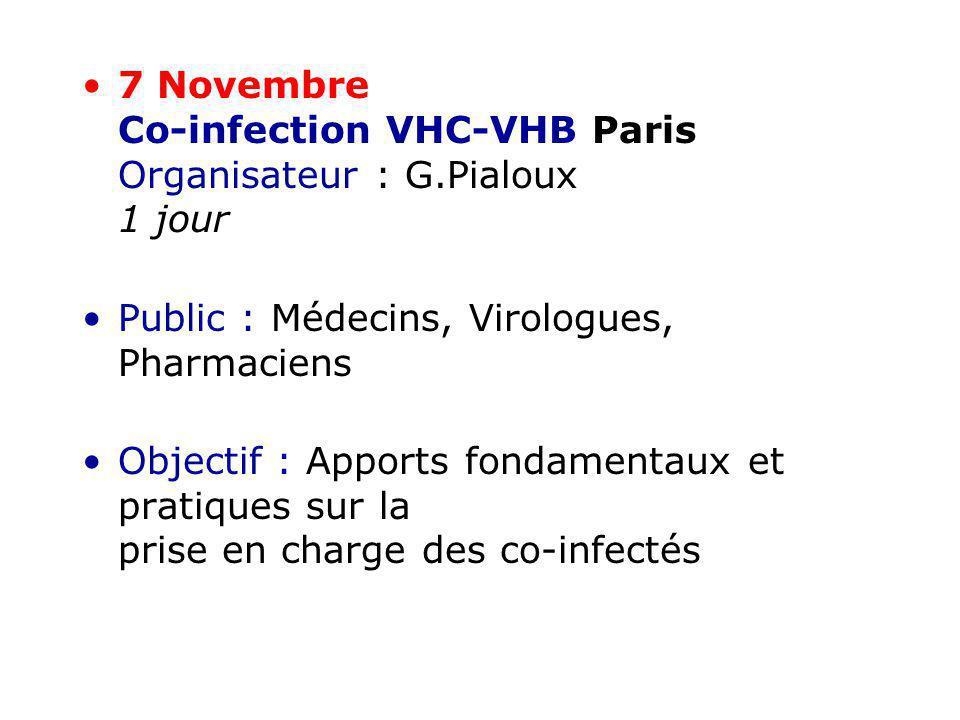 7 Novembre Co-infection VHC-VHB Paris Organisateur : G.Pialoux 1 jour Public : Médecins, Virologues, Pharmaciens Objectif : Apports fondamentaux et pr