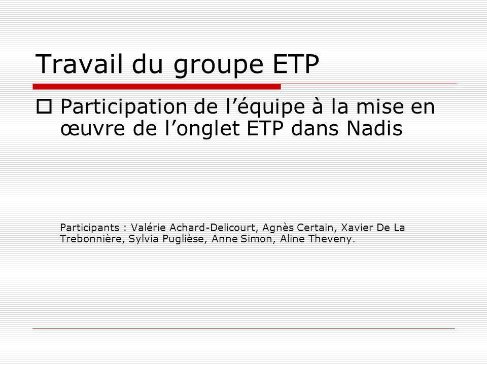 Travail du groupe ETP Participation de léquipe à la mise en œuvre de longlet ETP dans Nadis Participants : Valérie Achard-Delicourt, Agnès Certain, Xa