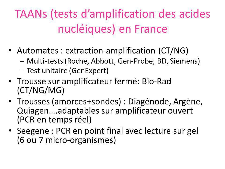 TAANs (tests damplification des acides nucléiques) en France Automates : extraction-amplification (CT/NG) – Multi-tests (Roche, Abbott, Gen-Probe, BD,