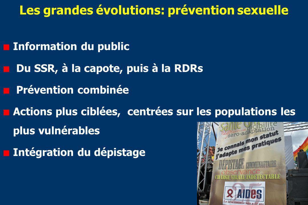 Les grandes évolutions: prévention sexuelle Information du public Du SSR, à la capote, puis à la RDRs Prévention combinée Actions plus ciblées, centrées sur les populations les plus vulnérables Intégration du dépistage