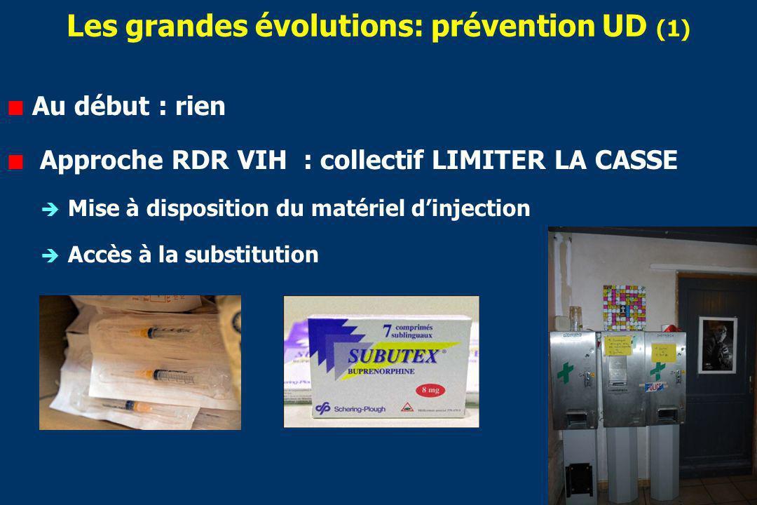 Les grandes évolutions: prévention UD (1) Au début : rien Approche RDR VIH : collectif LIMITER LA CASSE Mise à disposition du matériel dinjection Accès à la substitution