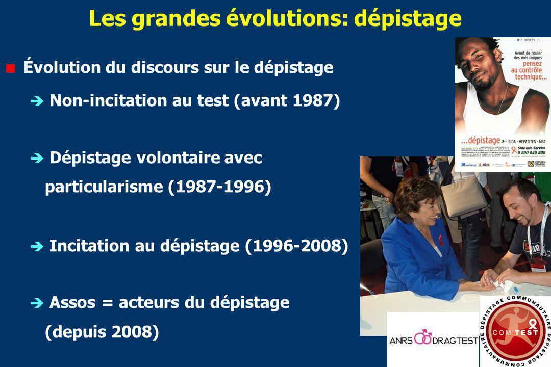 Les grandes évolutions: dépistage Évolution du discours sur le dépistage Non-incitation au test (avant 1987) Dépistage volontaire avec particularisme (1987-1996) Incitation au dépistage (1996-2008) Assos = acteurs du dépistage (depuis 2008)