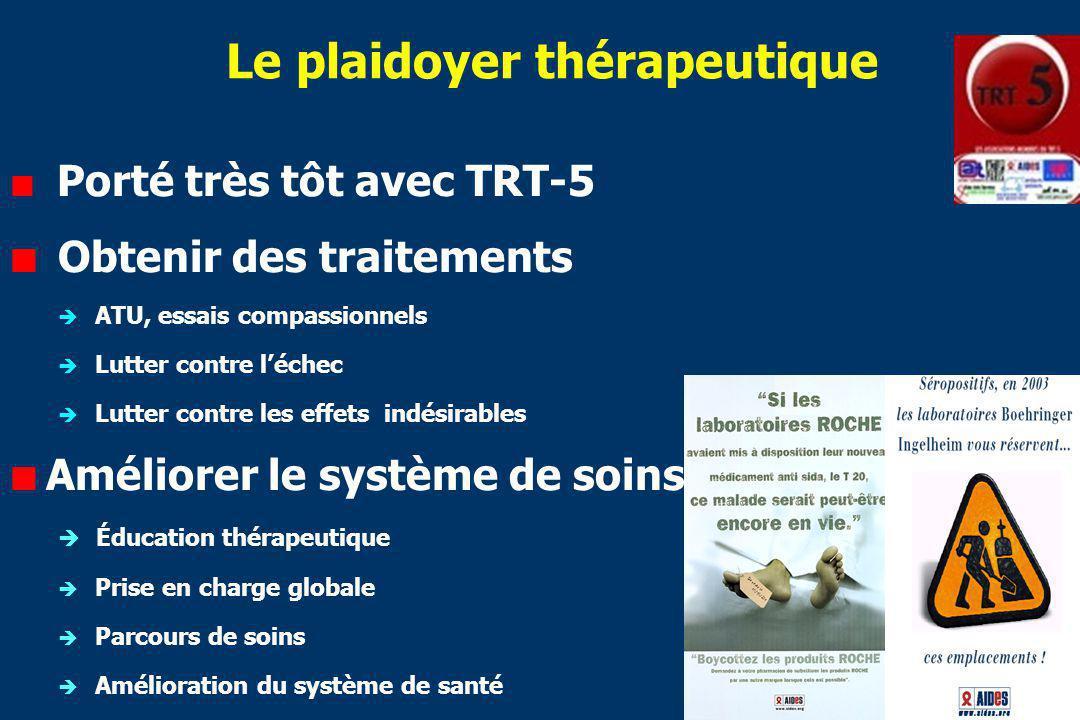 Le plaidoyer thérapeutique Porté très tôt avec TRT-5 Obtenir des traitements ATU, essais compassionnels Lutter contre léchec Lutter contre les effets indésirables Améliorer le système de soins Éducation thérapeutique Prise en charge globale Parcours de soins Amélioration du système de santé