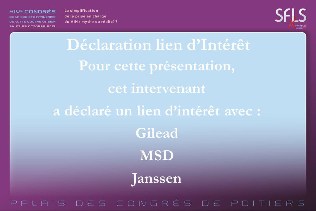 Pour cette présentation, cet intervenant a déclaré un lien dintérêt avec : Gilead MSD Janssen Déclaration lien dIntérêt