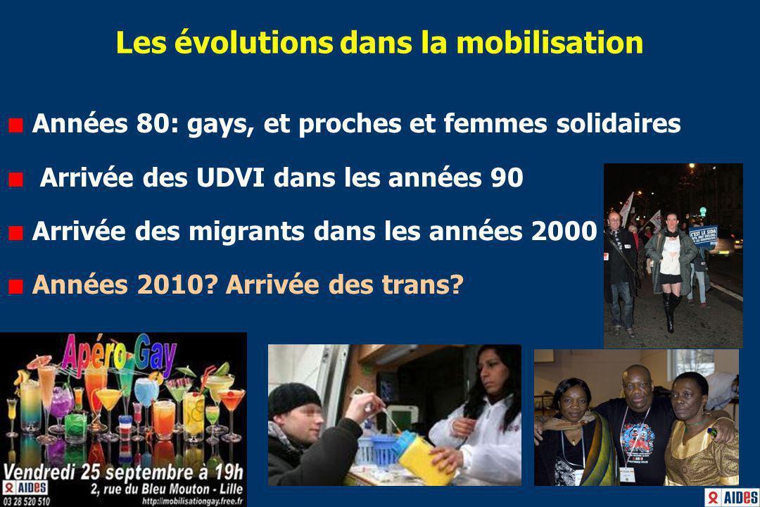 Les évolutions dans la mobilisation Années 80: gays, et proches et femmes solidaires Arrivée des UDVI dans les années 90 Arrivée des migrants dans les années 2000 Années 2010.