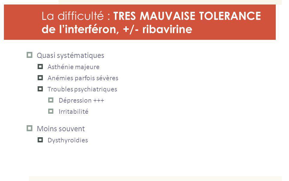 La difficulté : TRES MAUVAISE TOLERANCE de linterféron, +/- ribavirine Quasi systématiques Asthénie majeure Anémies parfois sévères Troubles psychiatr