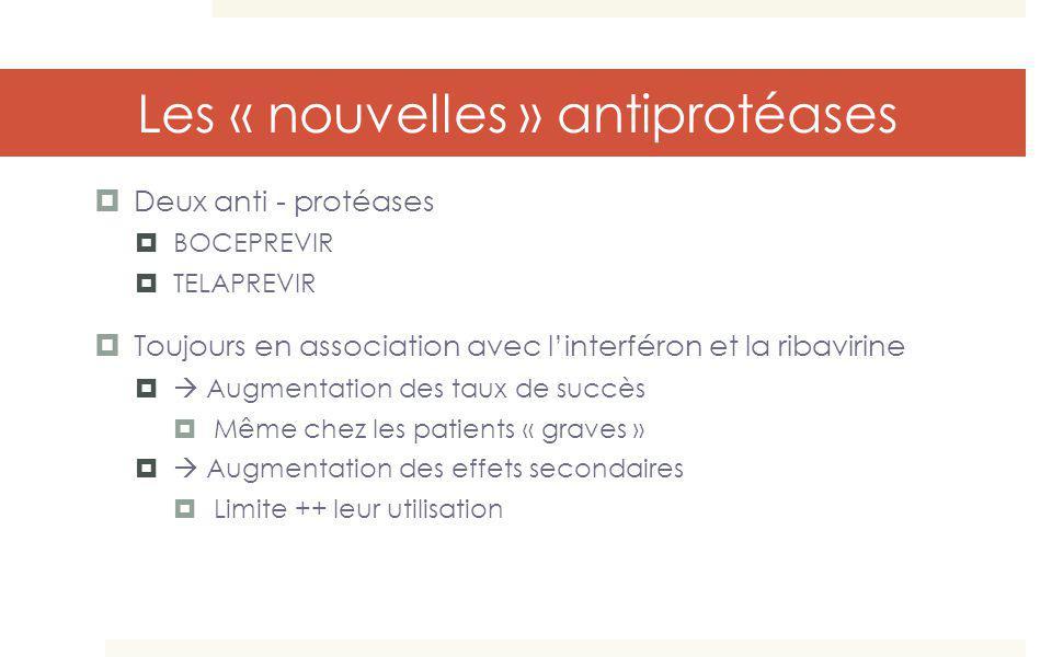 Les « nouvelles » antiprotéases Deux anti - protéases BOCEPREVIR TELAPREVIR Toujours en association avec linterféron et la ribavirine Augmentation des