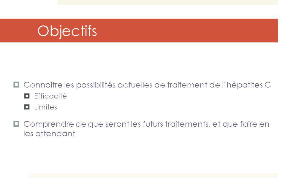 Objectifs Connaitre les possibilités actuelles de traitement de lhépatites C Efficacité Limites Comprendre ce que seront les futurs traitements, et qu