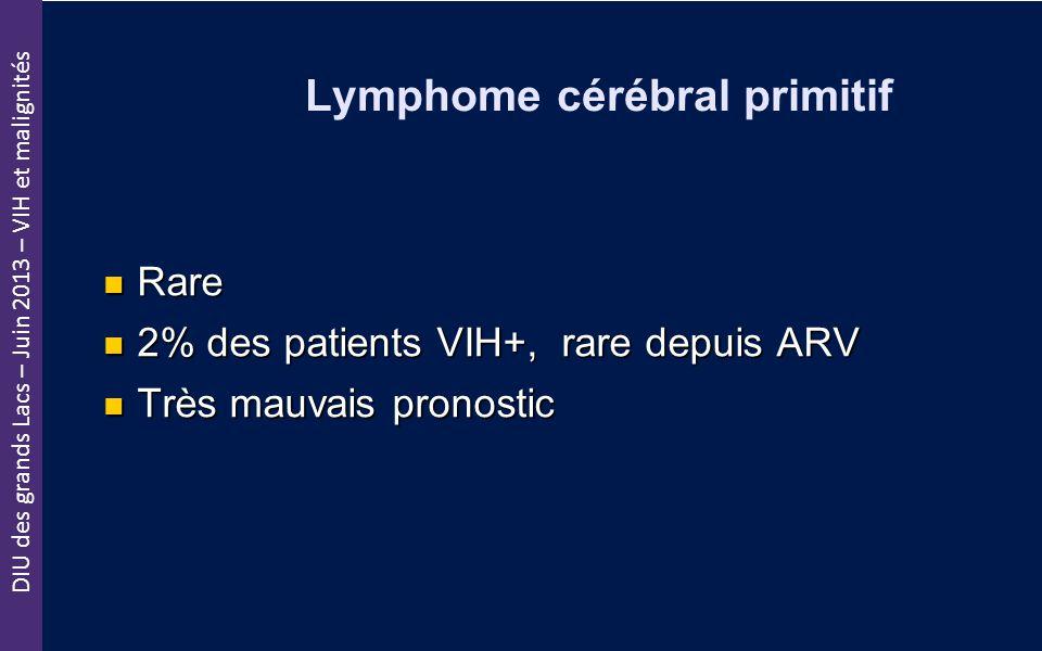 DIU des grands Lacs – Juin 2013 – VIH et malignités Lymphome cérébral primitif Rare Rare 2% des patients VIH+, rare depuis ARV 2% des patients VIH+, r