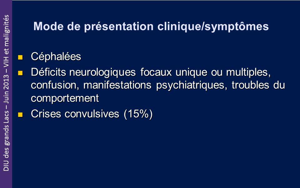DIU des grands Lacs – Juin 2013 – VIH et malignités Mode de présentation clinique/symptômes Céphalées Céphalées Déficits neurologiques focaux unique o