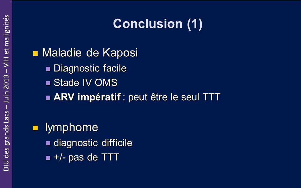 DIU des grands Lacs – Juin 2013 – VIH et malignités Conclusion (1) Maladie de Kaposi Maladie de Kaposi Diagnostic facile Diagnostic facile Stade IV OM