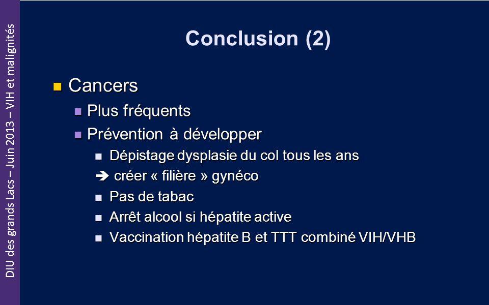 DIU des grands Lacs – Juin 2013 – VIH et malignités Conclusion (2) Cancers Cancers Plus fréquents Plus fréquents Prévention à développer Prévention à