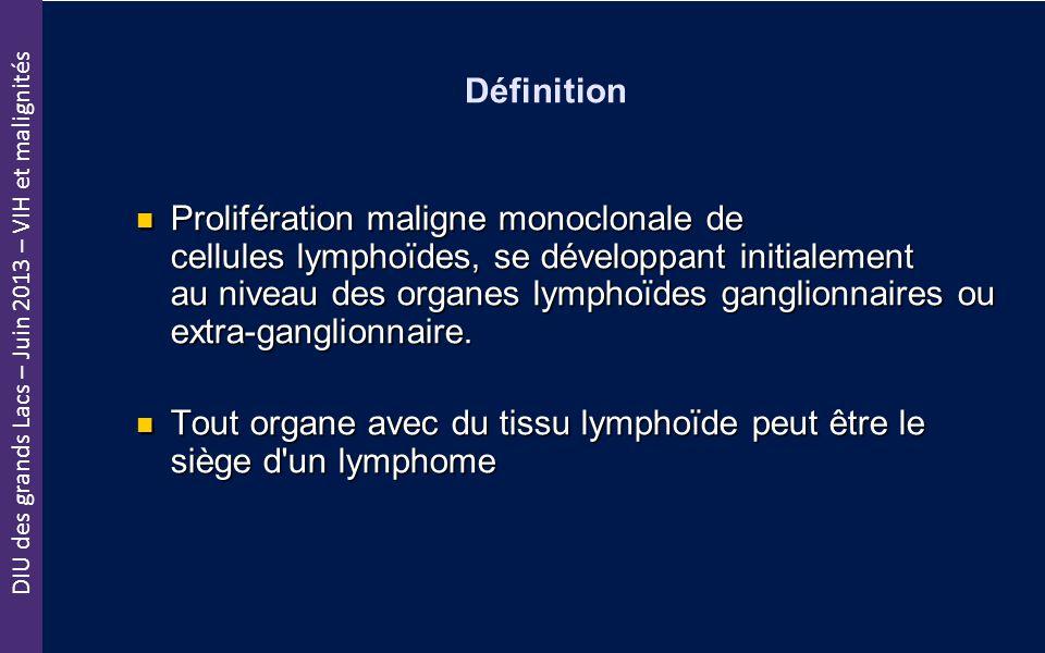 DIU des grands Lacs – Juin 2013 – VIH et malignités Définition Prolifération maligne monoclonale de cellules lymphoïdes, se développant initialement a