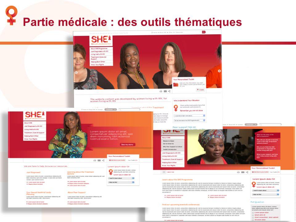 Partie médicale : des outils thématiques