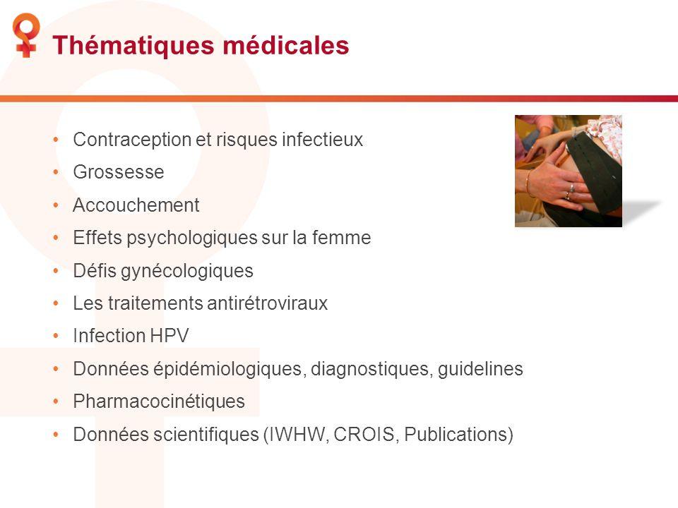 Thématiques médicales Contraception et risques infectieux Grossesse Accouchement Effets psychologiques sur la femme Défis gynécologiques Les traitemen