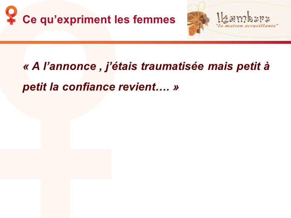 Ce quexpriment les femmes « A lannonce, jétais traumatisée mais petit à petit la confiance revient…. »