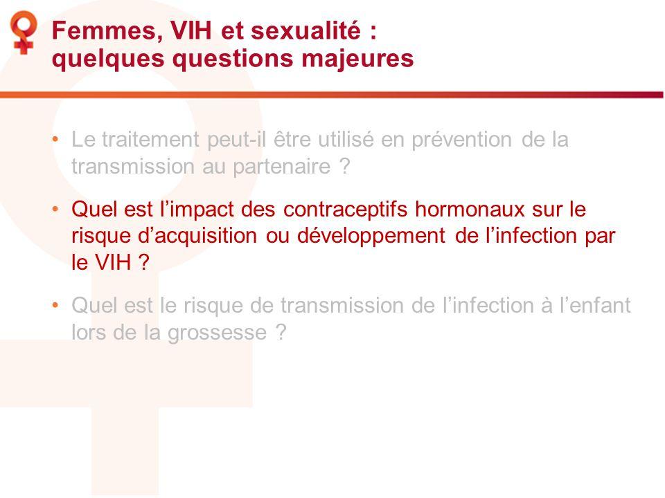 Femmes, VIH et sexualité : quelques questions majeures Le traitement peut-il être utilisé en prévention de la transmission au partenaire ? Quel est li