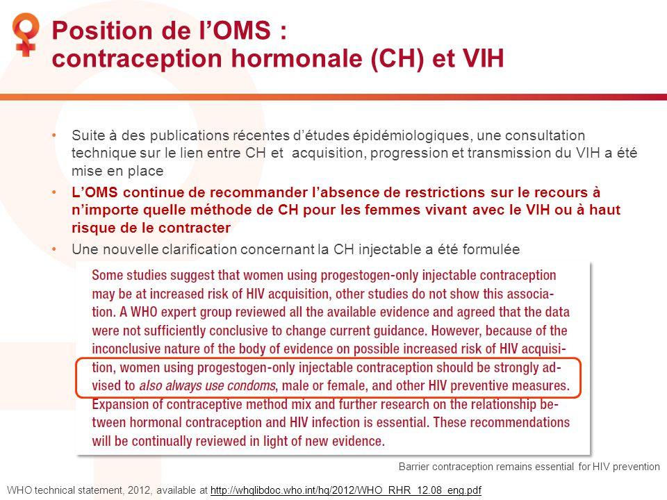 Position de lOMS : contraception hormonale (CH) et VIH Suite à des publications récentes détudes épidémiologiques, une consultation technique sur le l