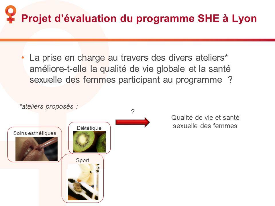 Projet dévaluation du programme SHE à Lyon La prise en charge au travers des divers ateliers* améliore-t-elle la qualité de vie globale et la santé se