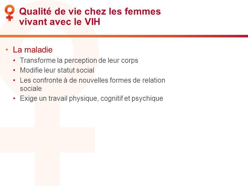 Qualité de vie chez les femmes vivant avec le VIH La maladie Transforme la perception de leur corps Modifie leur statut social Les confronte à de nouv