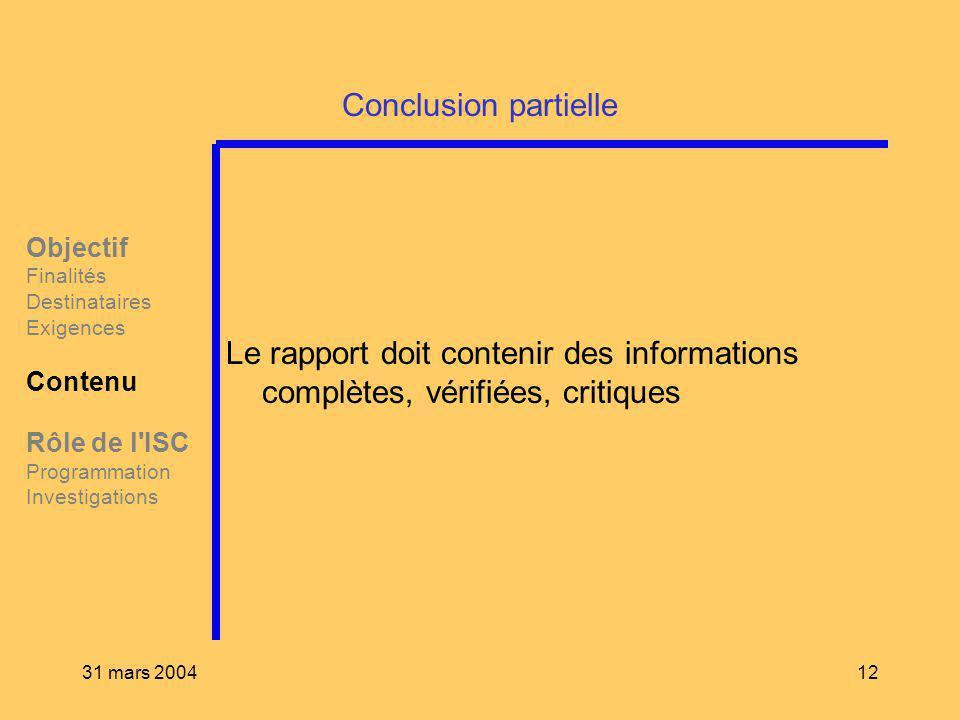 31 mars 200412 Conclusion partielle Le rapport doit contenir des informations complètes, vérifiées, critiques Objectif Finalités Destinataires Exigenc