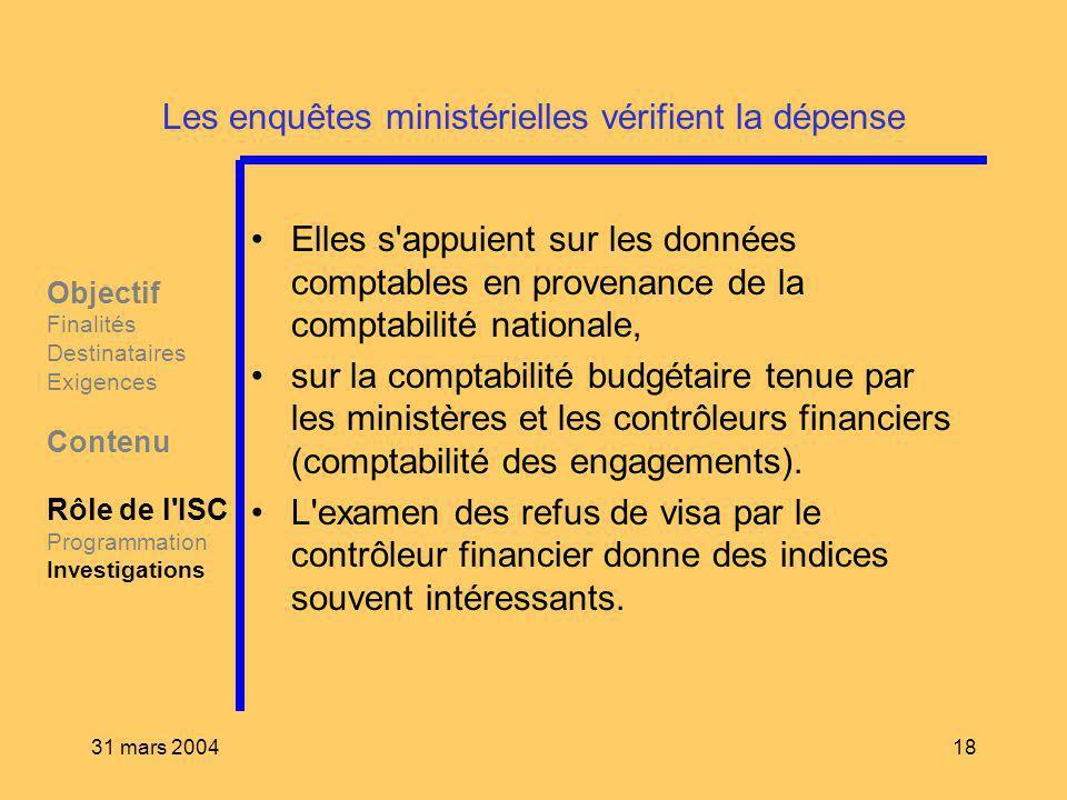 31 mars 200418 Les enquêtes ministérielles vérifient la dépense Elles s'appuient sur les données comptables en provenance de la comptabilité nationale