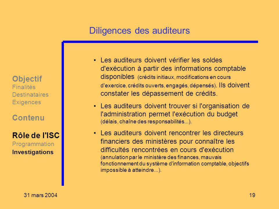 31 mars 200419 Diligences des auditeurs Les auditeurs doivent vérifier les soldes d'exécution à partir des informations comptable disponibles (crédits