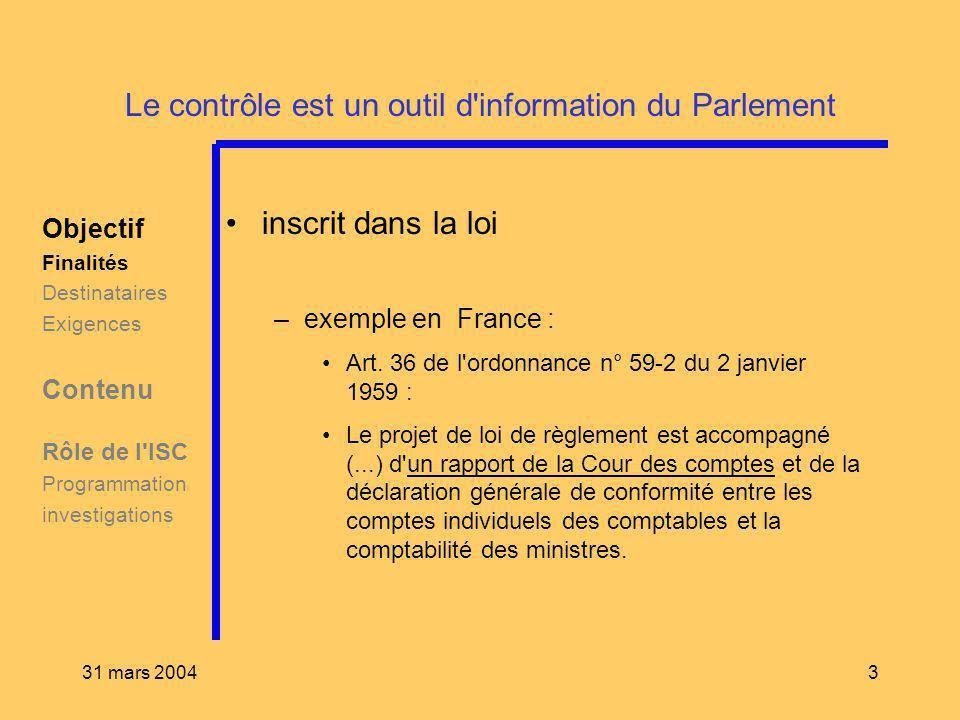 31 mars 20043 Le contrôle est un outil d'information du Parlement inscrit dans la loi –exemple en France : Art. 36 de l'ordonnance n° 59-2 du 2 janvie