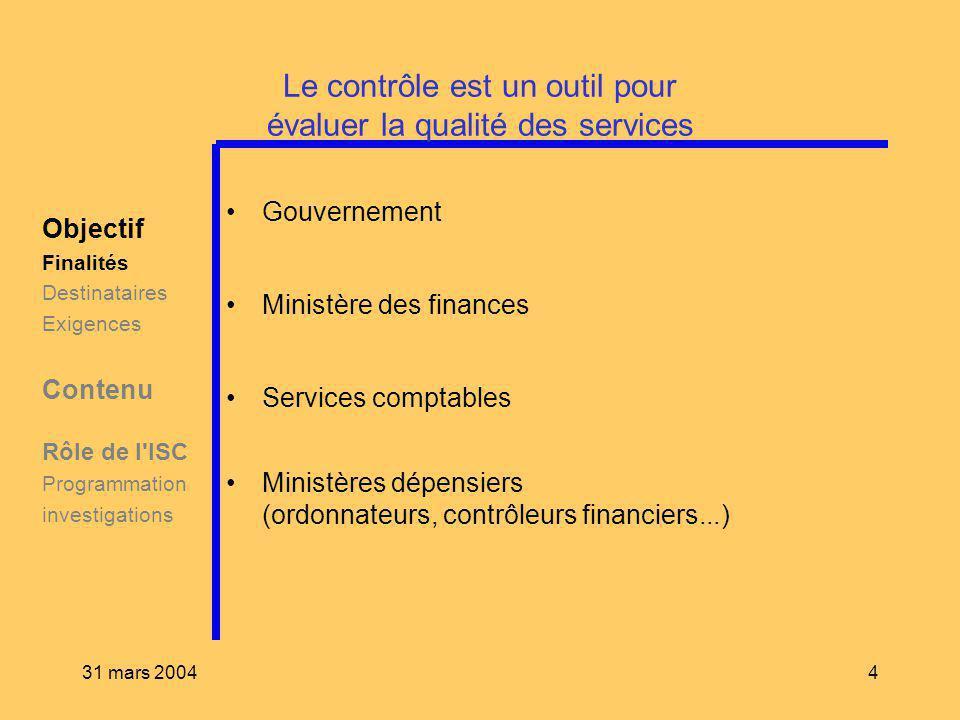31 mars 20044 Le contrôle est un outil pour évaluer la qualité des services Objectif Finalités Destinataires Exigences Contenu Rôle de l'ISC Programma