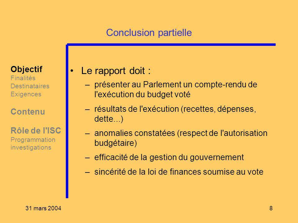 31 mars 20048 Conclusion partielle Le rapport doit : –présenter au Parlement un compte-rendu de l'exécution du budget voté –résultats de l'exécution (