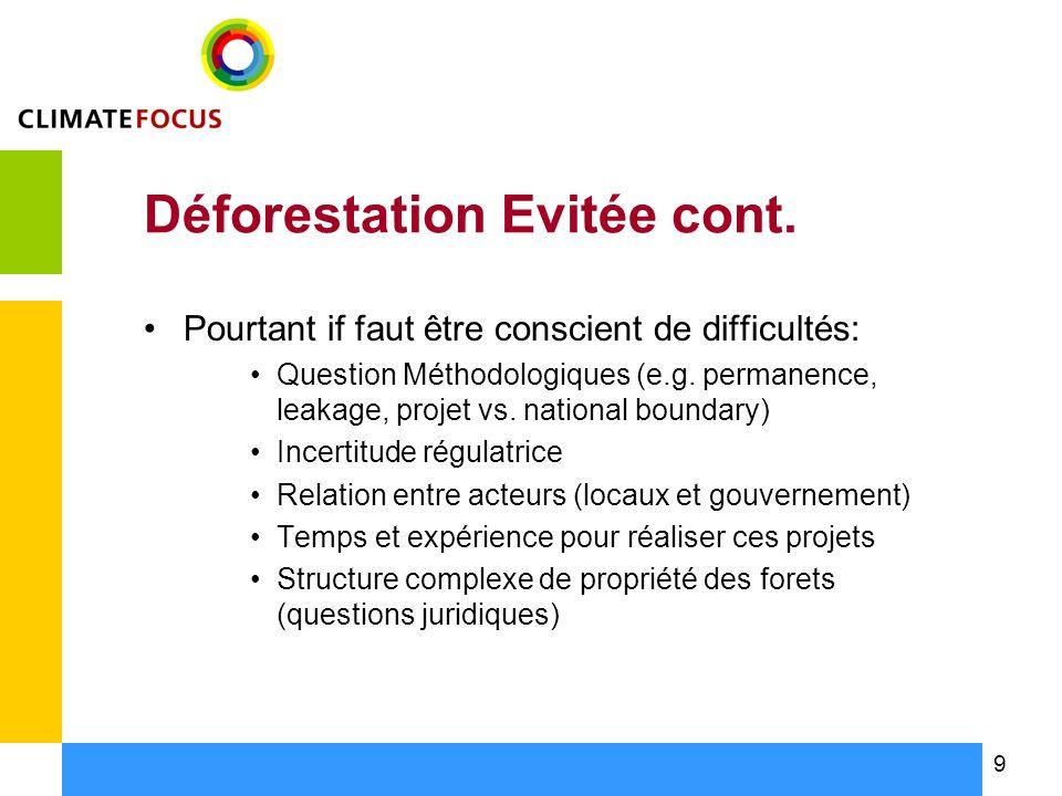 9 Déforestation Evitée cont.