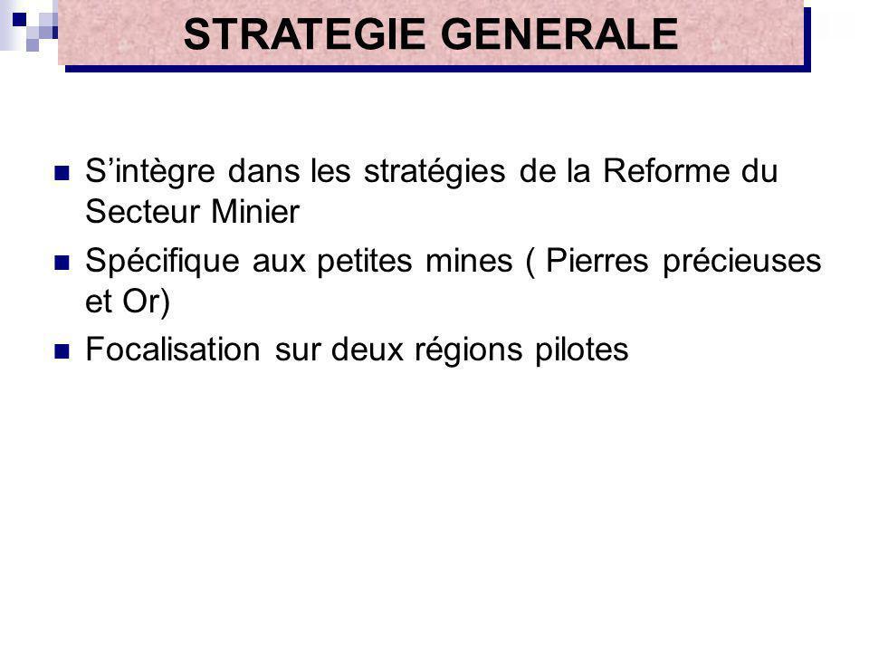 Sintègre dans les stratégies de la Reforme du Secteur Minier Spécifique aux petites mines ( Pierres précieuses et Or) Focalisation sur deux régions pi