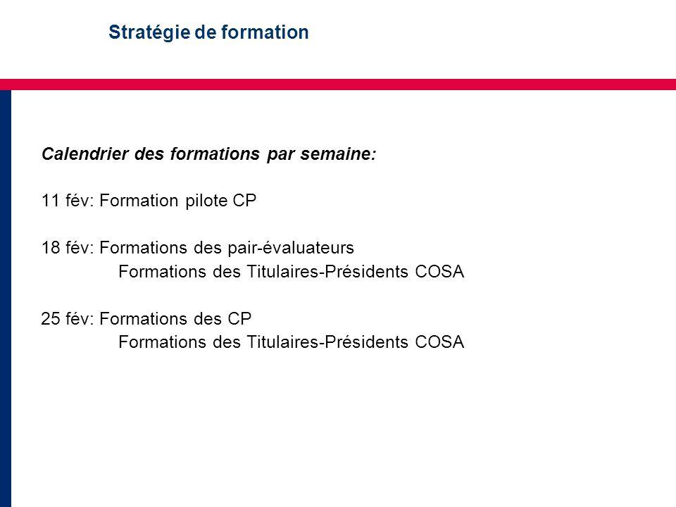 Stratégie de formation Calendrier des formations par semaine: 11 fév: Formation pilote CP 18 fév: Formations des pair-évaluateurs Formations des Titulaires-Présidents COSA 25 fév: Formations des CP Formations des Titulaires-Présidents COSA