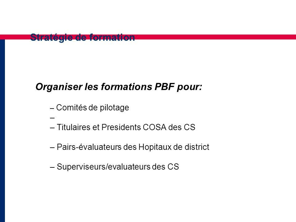 Stratégie de formation Organiser les formations PBF pour: – Comités de pilotage – – Titulaires et Presidents COSA des CS – Pairs-évaluateurs des Hopitaux de district – Superviseurs/evaluateurs des CS