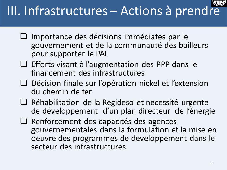 III. Infrastructures – Actions à prendre Importance des décisions immédiates par le gouvernement et de la communauté des bailleurs pour supporter le P