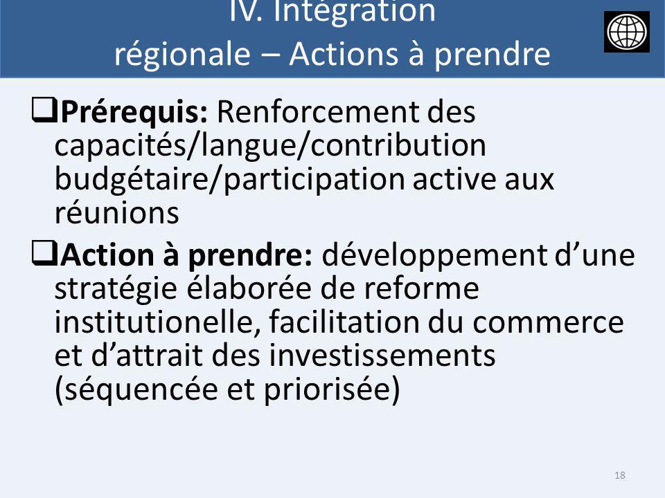 IV. Intégration régionale – Actions à prendre Prérequis: Renforcement des capacités/langue/contribution budgétaire/participation active aux réunions A