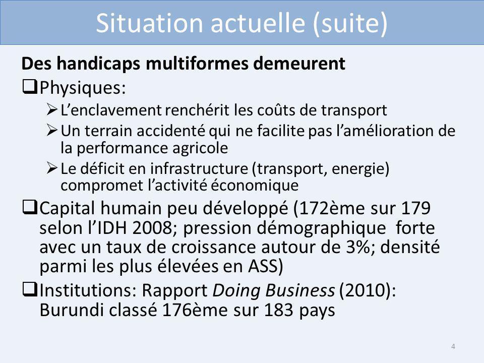 Situation actuelle (suite) Des handicaps multiformes demeurent Physiques: Lenclavement renchérit les coûts de transport Un terrain accidenté qui ne fa