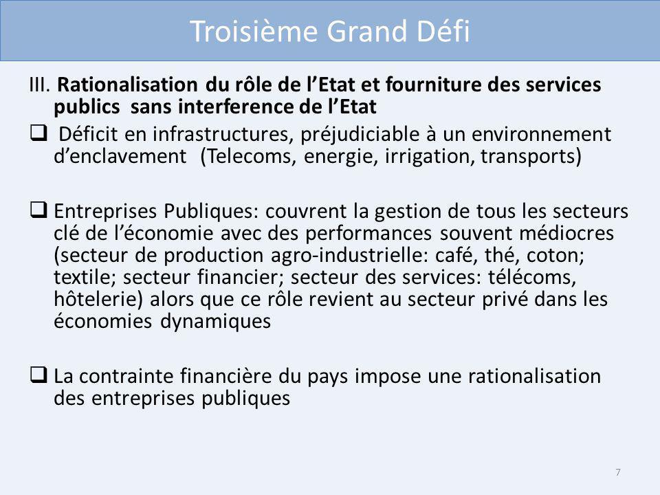 Troisième Grand Défi III. Rationalisation du rôle de lEtat et fourniture des services publics sans interference de lEtat Déficit en infrastructures, p