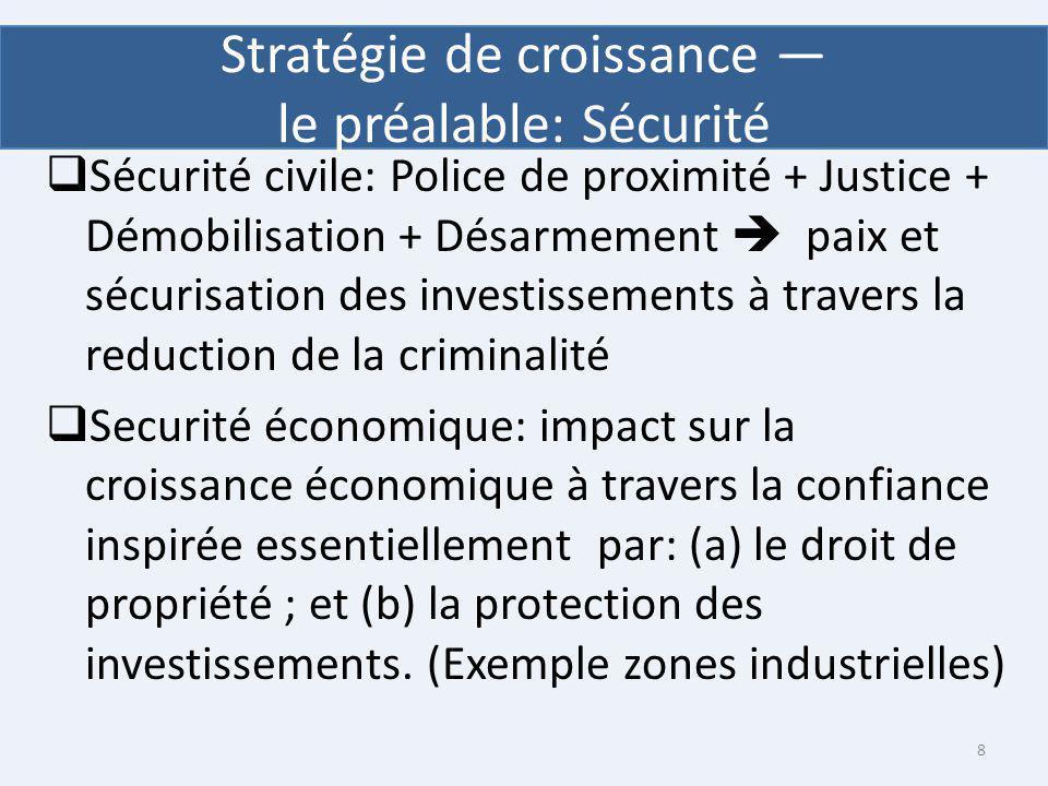 Sécurité civile: Police de proximité + Justice + Démobilisation + Désarmement paix et sécurisation des investissements à travers la reduction de la cr
